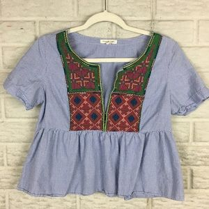 American Eagle Boxy Embroidered Crop Top Peplum